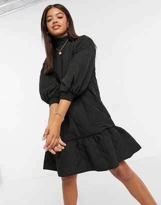 Object quilted mini dress with pie crust neck in black