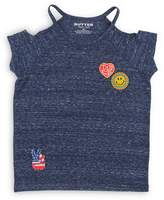 Butter Shoes Girls' Cold-Shoulder Tee with Patches