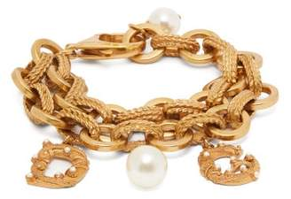 Dolce & Gabbana Faux Pearl-embellished Logo Charm Bracelet - Womens - Gold