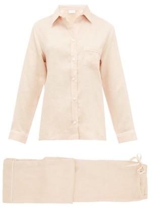 POUR LES FEMMES Pipe-trim Wide-leg Linen Pyjamas - Light Pink