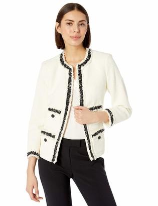 Anne Klein Women's Fringe Tweed Jacket