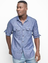 Gap Linen-cotton utility pocket shirt