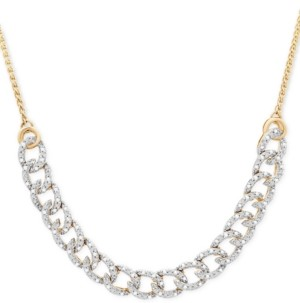 Wrapped in Love Diamond Curb-Link Bolo Necklace (1/4 ct. t.w.) in 10k Gold, Created for Macy's