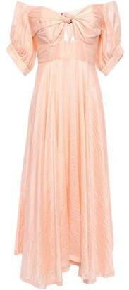 Kitx Unearthed Off-the-shoulder Knotted Crinkled Silk-crepe Midi Dress