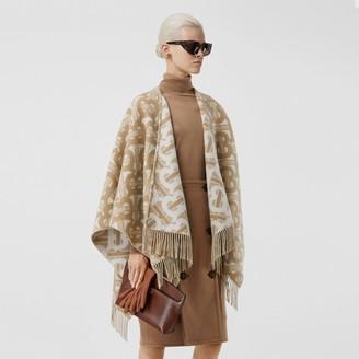 Burberry Monogram Merino Wool Cashmere Jacquard Cape