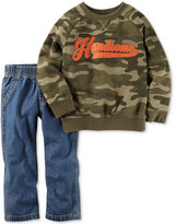 Carter's 2-Pc. Long-Sleeve Camo-Print Graphic Sweatshirt & Jeans Set, Baby Boys