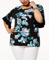 JM Collection Plus Size Ruffled-Sleeve Tunic, Created for Macy's
