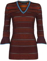 Versace Contrast Knit Fluted Cuff Sweater