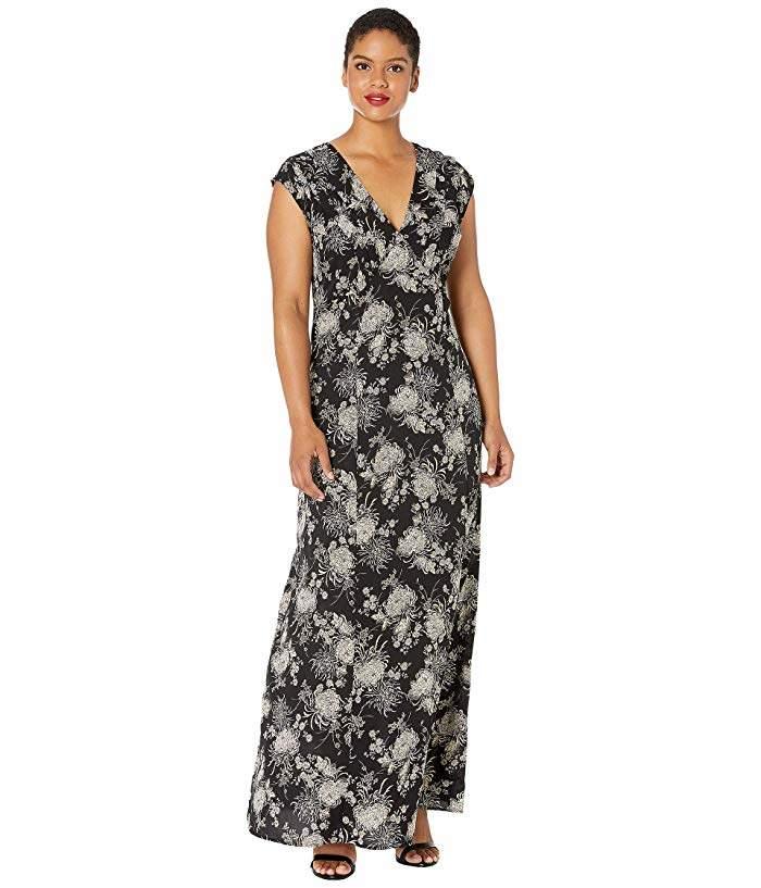 Plus Size Ivory Floral Sparkle Cap Sleeve Cass Maxi