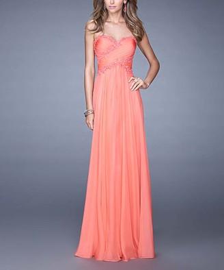 La Femme Women's Special Occasion Dresses Hot - Hot Coral Bead-Accent Lace-Trim Cross-Back Strapless Gown - Women