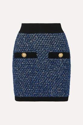 Balmain Button-embellished Metallic Tweed Mini Skirt - Blue
