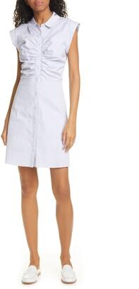 Veronica Beard Ruched Stretch Poplin Shirtdress