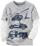 Carter's Long-Sleeve Layered-Look Rescue Car Graphic Tee