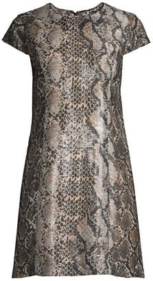 Elie Tahari Sequined Snake-Print Shift Mini Dress