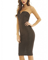AX Paris Bronze Notch Strapless Dress