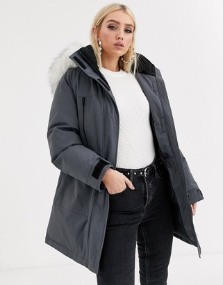ASOS DESIGN padded parka with faux fur hood in gray