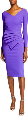 Chiara Boni V-Neck Long-Sleeve Asymmetric Shirred Detail Dress
