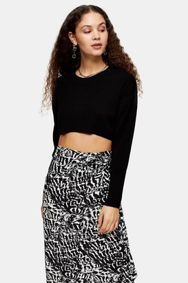 Topshop Womens Black Super Cropped Knitted Jumper - Black