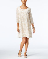 ECI Printed Embroidered Shift Dress