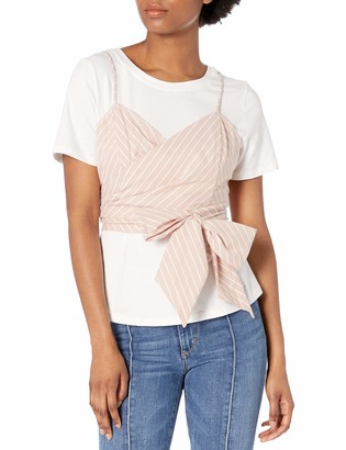 ASTR the Label Women's Maddie Two in One Short Sleeve Tshirt & Striped Wrap Top