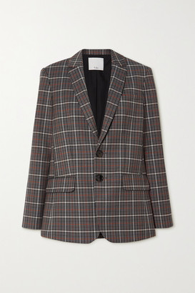 Tibi Gabe Cutout Checked Woven Blazer - Gray
