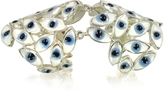 Bernard Delettrez Sterling Silver Articulated Ring w/Blue Eyes