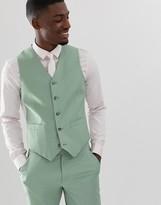 Asos Design DESIGN wedding slim suit vest in sage green