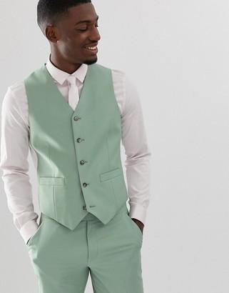 Asos DESIGN wedding slim suit vest in sage green