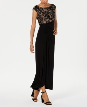 Connected Embroidered Mesh Faux-Wrap Gown