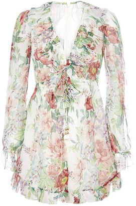 Zimmermann Bellitude Floral Print Silk Playsuit