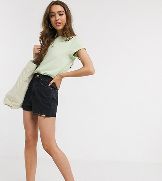 New Look Petite super high waist mom shorts in black
