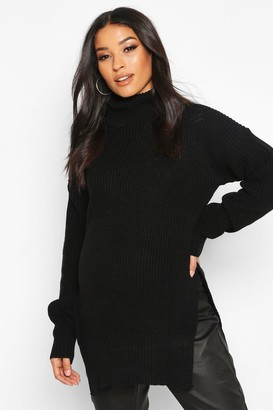 boohoo Maternity Roll Neck Side Split Nursing Jumper