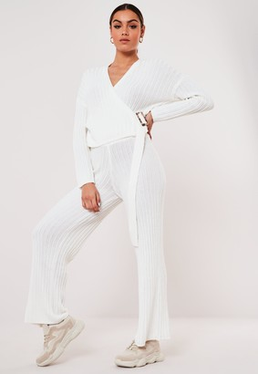 Missguided White Co Ord Rib Pointelle Cardigan
