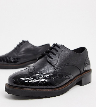 Dune wide fit fion leather brogues in black
