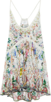 Camilla Crystal-embellished Layered Printed Silk-georgette Camisole