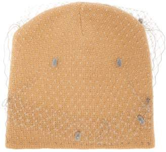 Lafayette House Of Milou 7 Veiled Knitted Beanie Hat - Womens - Beige