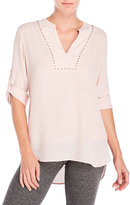 Ivanka Trump Studded Bib Georgette Blouse