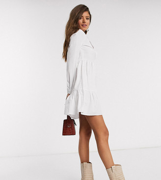 Stradivarius poplin shirt dress in white