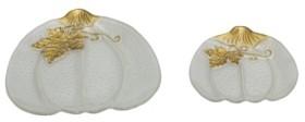 Transpac Trans Pac Glass White Harvest Fused Elegant Pumpkin Plates - Set of 2
