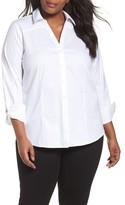 Foxcroft Plus Size Women's Rita Solid Stretch Cotton Top
