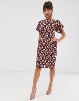 Closet London knee length wiggle dress in tile print-Multi