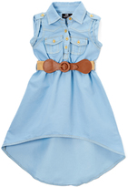 Dollhouse Light Blue Belted Hi-Low Dress - Infant, Toddler & Girls