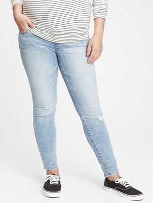 Gap Maternity True Waistband Full Panel Distressed Skinny Jeans