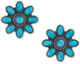 American West Genuine Turquoise (3-1/8 ct. t.w.) Flower Stud Earrings in Sterling Silver