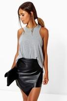 boohoo Petite Elin Asymmetric PU Mini Skirt black