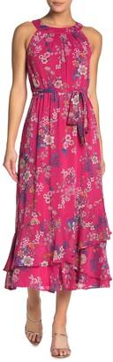 Calvin Klein Floral Waist Tie Maxi Dress