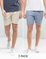 Asos 2 Pack Slim Chino Shorts In Blue & Stone SAVE