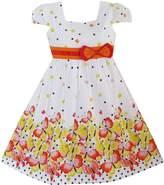 Sunny Fashion EE63 Girls Dress Short Sleeve Butterfly Dot School