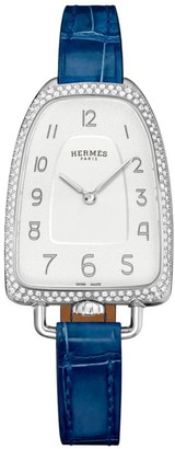 Hermes Galop 26MM Diamond, Stainless Steel & Alligator Strap Watch