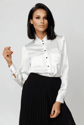 Kands London White Front-Pocket Silk Blouse